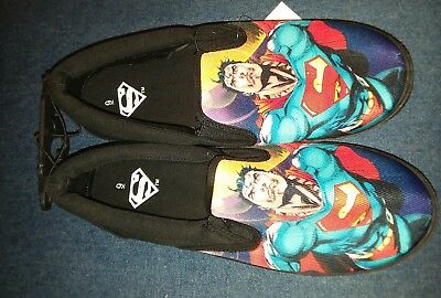 66d5616831b3 Mens BioWorld DC Comics superman Black Canvas SlipOn Shoes Size 9 New With  Tags