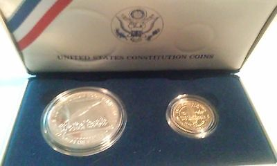 1987 US Mint 2 Coin US Constitution Silver & Gold Proof Set with COA Spot $325+