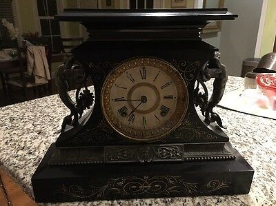 Vintage and Rare, 1880's Ansonia Rosalind Mantle Clock, Ornate and Working!