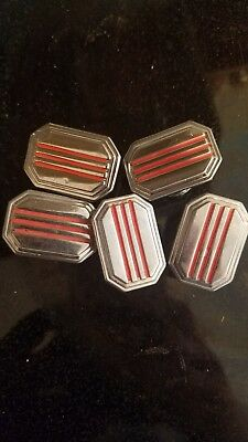*5 PIECES* Vintage Chrome and Red Cabinet Pulls Art Deco