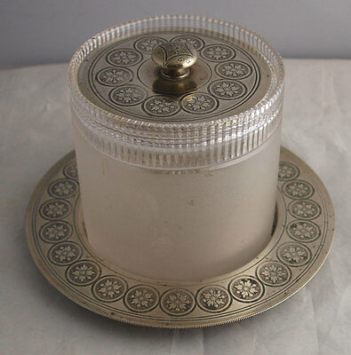 Unusual Antique Continental Silver Plated Biscuit Barrel On Stand