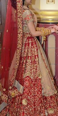 Red & Gold Bridal Top And Skirt Lengha