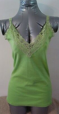 Rue 21 Women's Jr Size Small Tank Top Cami Lime Green Cotton Lace Trim