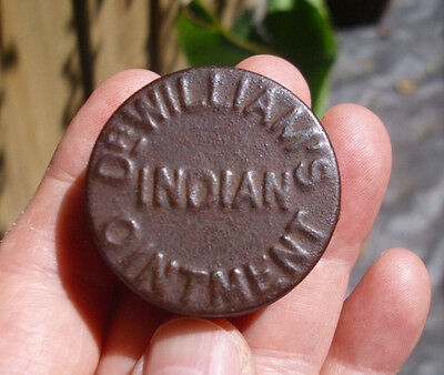 Antique 1890 quack-cure,DrWilliams INDIAN PILE OINTMENT pharmacy tin + contents!