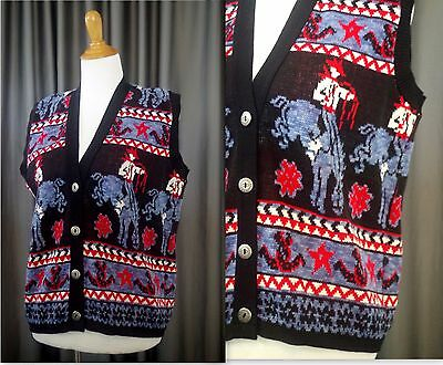 Vtg Women's Size M Sweater Vest Western Rodeo Cowboy Horse Pattern Made In USA