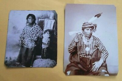 2 Tintypes Of 2 Native American Or Indians R.P. Made On Real Tin