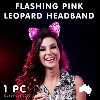 1 X Flashing Led Pink Leopard Ears Headband Light Up Glow Dark Rave Party Dance