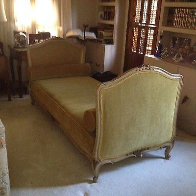 French Antique Louis XV style Daybed with beautifully cared wood accents.