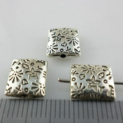 12pcs Tibetan Silver Rectangle Flower Spacer Beads 9x10mm Jewelry Findings