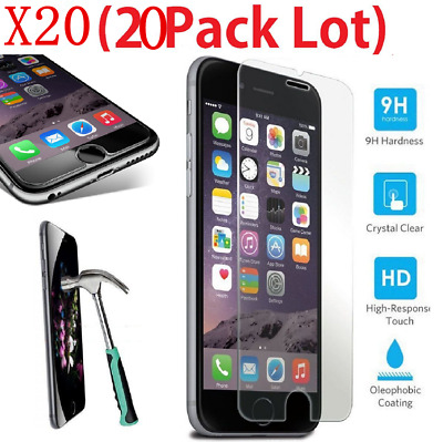 20X Wholesale Lot RealPremium Tempered Glass Screen Protector for Apple iPhone 7