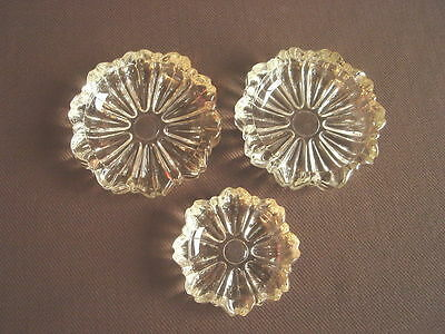 Vintage Lot of 3 Heavy Glass Ashtrays - Ashtray - Same Scalloped Design 2 Sizes
