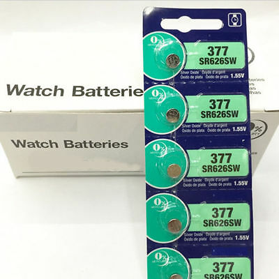 Hot Sale 5x 1.55V Silver Oxide Watch Button-type Batteries For Sony 377 SR626SW