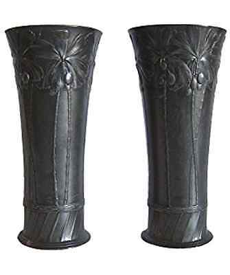Antique German Art Nouveau Spill Vase Pair in Patinated Pewter by Orivit-AG