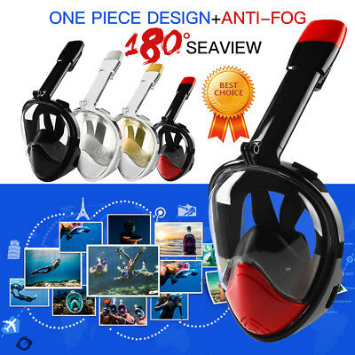 Snorkel Snorkeling Full Mask Diving Goggles W/ Breather Pipe For GoPro L/XL Red