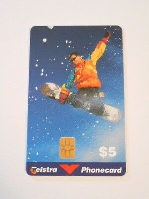 Telstra Phonecard $5 Value SNOW BOARDER.
