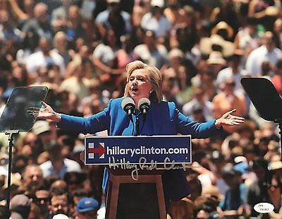 Hillary Clinton Signed 11x14 Photo JSA LOA First Lady Bill Announcing Historic