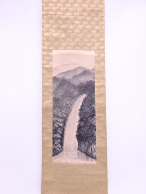 33152# Japanese Wall Scroll / Hand Painted / Landscape With Water Fall