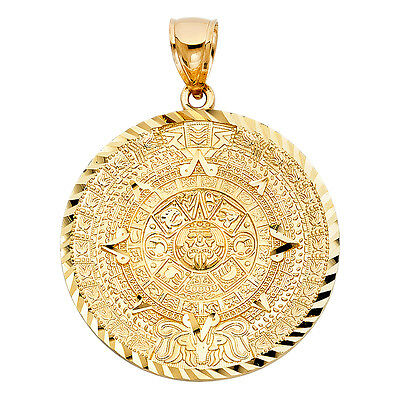 14k Yellow Gold Aztec Mayan Mexico Sun Calendar Calendario Azteca Pendant 57 mm