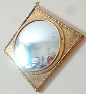 Art Deco Brass Convex Fish Eye Diamond Shaped Mirror 1930S