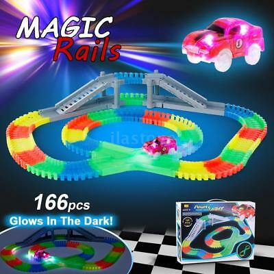 Race Car Track 166PCS Twister Flexible Tracks Toy Set Glow-In-The-Darkness Car