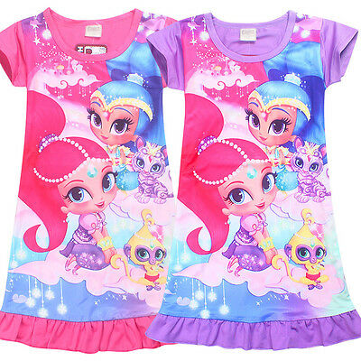 UK Kids Shimmer and Shine Top T Shirt Dress Nightwear Nightdress Pyjamas Clothes