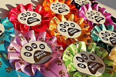 Well Done Rosettes Paw Print Mixed Colours X 10