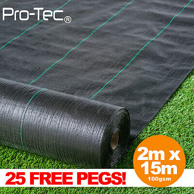 2m x 15m ground cover fabric landscape garden weed control heavy duty membrane