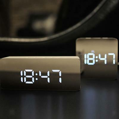 Modern Digital LED Snooze Alarm Clock Time Temperature Night Mode Mirror