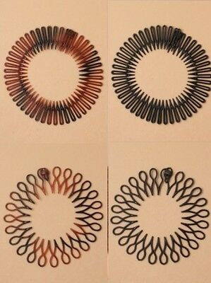 Pack Of 6 Flexi Combs; Hair Accessory; Fashion; Work; School; Updo, Black, Tort