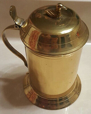 Gold Lacquered Metal Lidded Beer Stein Mug Handle Duck