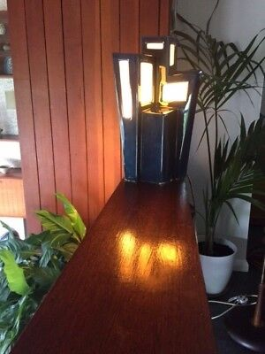 Vintage 1950s 1960s Holkham Pottery Modernist Cubist Lamp in Blue  - Very Rare