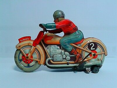 RARE Technofix G.E. 255 Wind-up Trick Race Motorcycle 1946 US Zone Germany