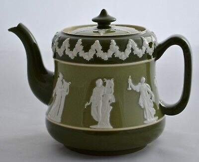 Wiltshaw & Robinson (Early Carlton Ware) Green, Glazed Teapot No 289951 C.1890's