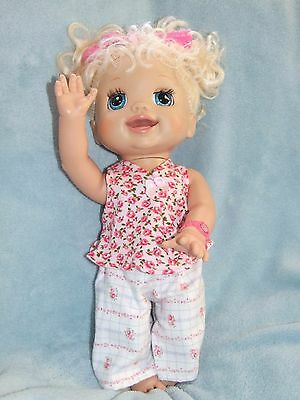 40cm BABY ALIVE Dolls Clothes  / Top~Pants~Headband / Pink Roses / Flannel Pants