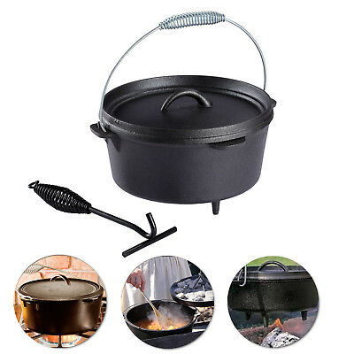 4.5 QUART Cast Iron Dutch Camp Oven Pot Outdoor Camping Cookware Portable Pan