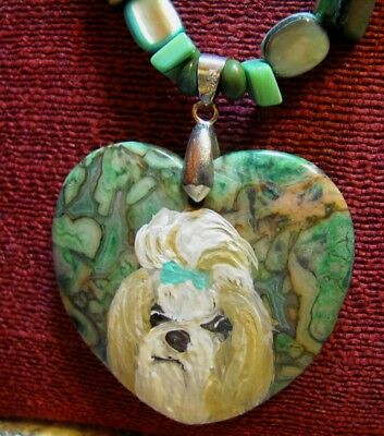 Shih Tzu hand painted on green, heart shaped Sea Sediment Jasper pendant/bead/ne
