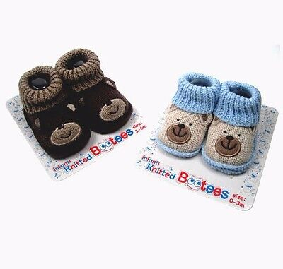 Boys unisex knitted bootees cute bear face soft touch blue brown, 0-3 3-6 months