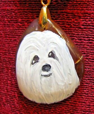 "Havanese hand painted on a 2"" Onyx Agate pendant/bead/necklace"