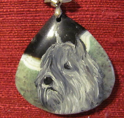 Bouvier des Flandres hand painted on Onyx Agate triangular pendant/bead/necklace