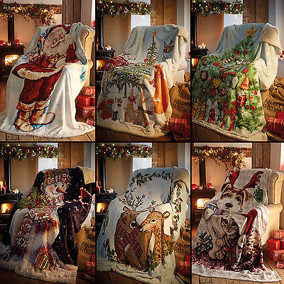 Father Christmas Tree Snowman Stag Super Soft Bed Sofa Fleece Blanket Throw