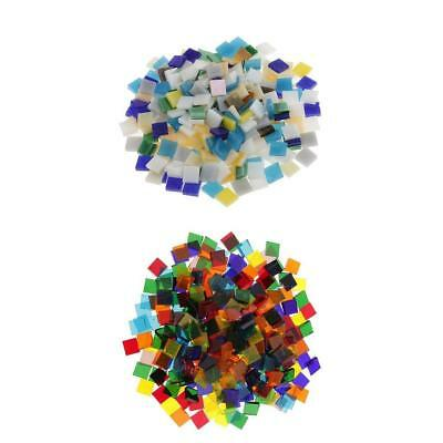 320g Colorful Square Glass Pieces Mosaic Tiles Tessera for Craft 10x10mm