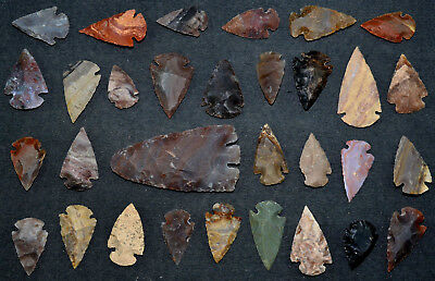 """31 PC Flint Arrowhead Ohio Collection Points 1-3"""" Spear Bow Knife Hunting Blade"""