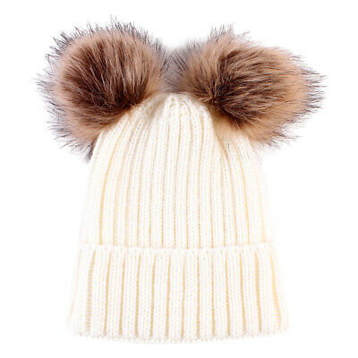 Newborn Infants Baby Girls Boys Winter Warm Knit Hat Toddler Hairball Beanie Cap