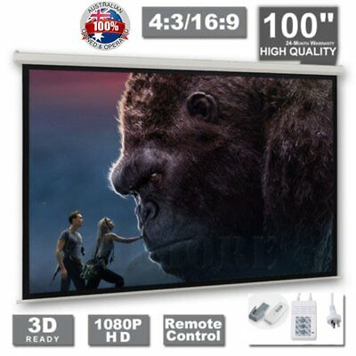 """100"""" Inch Electric Motorised Projector Screen Home Theatre HD TV Projection 3D C"""