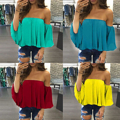 Sexy Women Long Sleeve Pullover T Shirt Off Shoulder Casual Blouse Tops Shirt