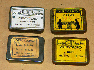 Meccano small parts tins, four assorted