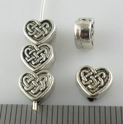 30pcs Tibetan Silver Heart Loose Spacer Beads Jewelry Findings 7x6.5mm