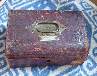 old Victorian leather covered box for repair or spares shabby