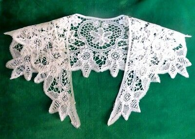 Antique Very Fine VictorianTape Lace Collar Incredible Filling Stitches