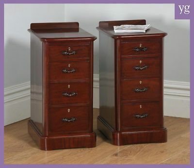 Antique Pair English Victorian Flame Mahogany Bedside Chests Night Stands Tables